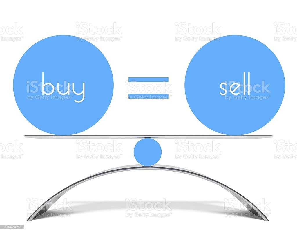 Conceptual balance of buy and sell stock photo