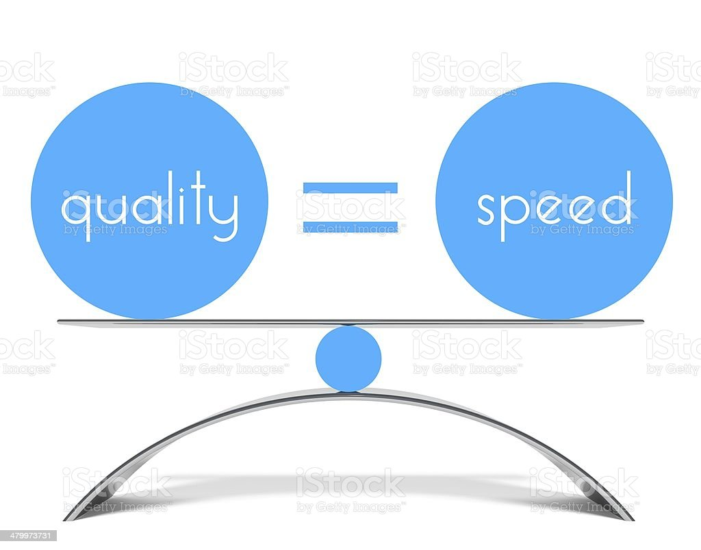 Conceptual balance of quality and speed stock photo