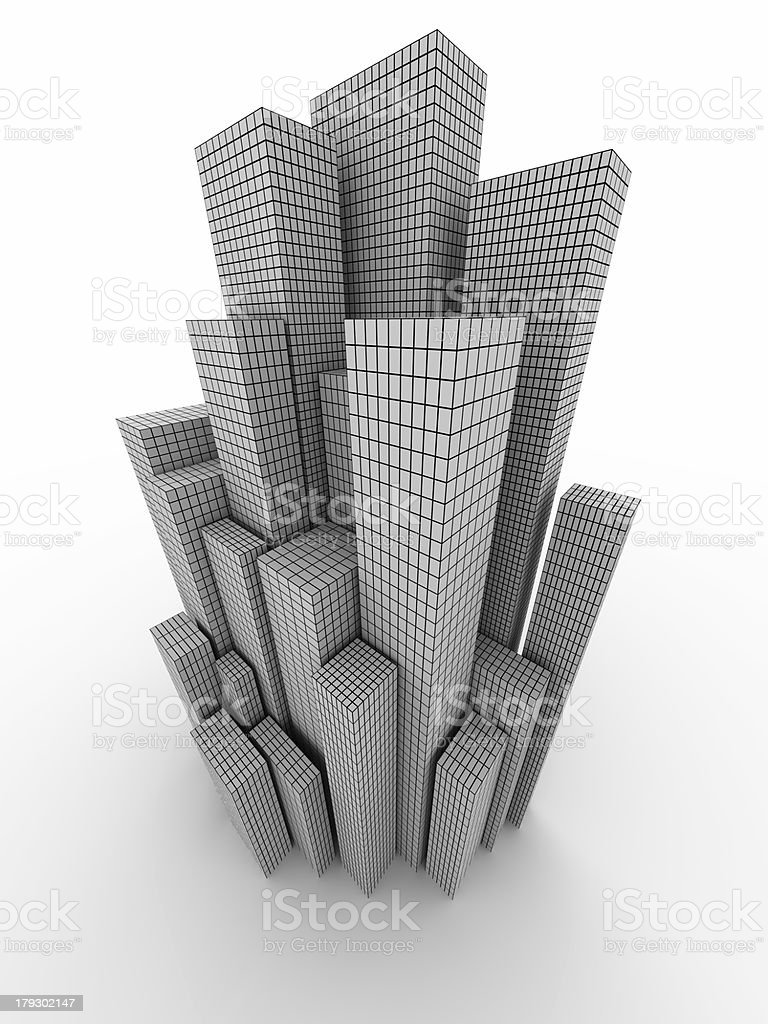 Conceptual city with grid stock photo