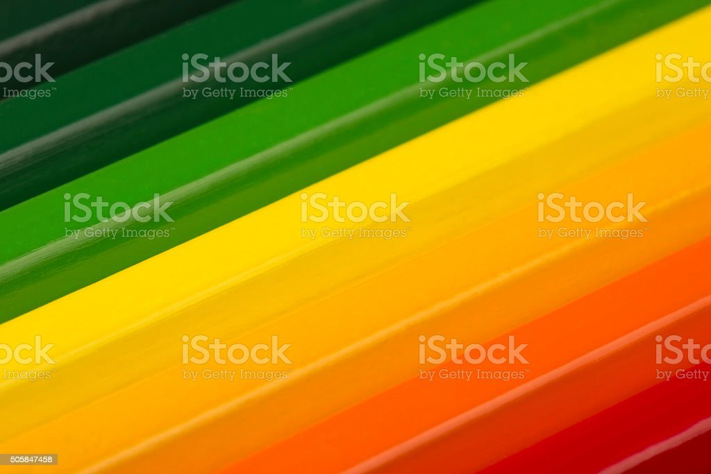 Conceptual crayons as energy label colors. stock photo