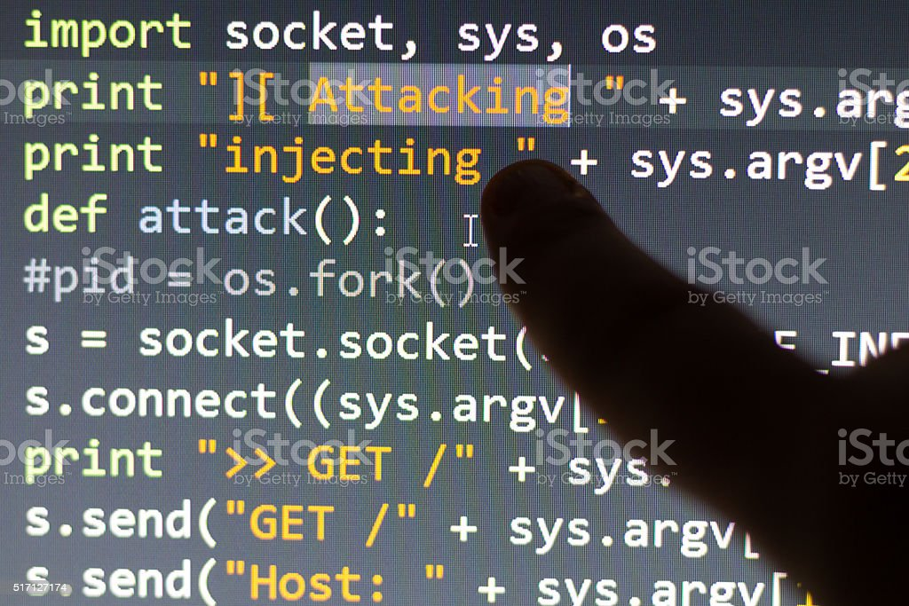 Conceptual cyber attack code stock photo