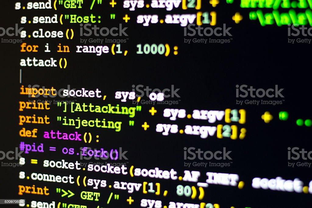 Conceptual cyber attack code stock photo