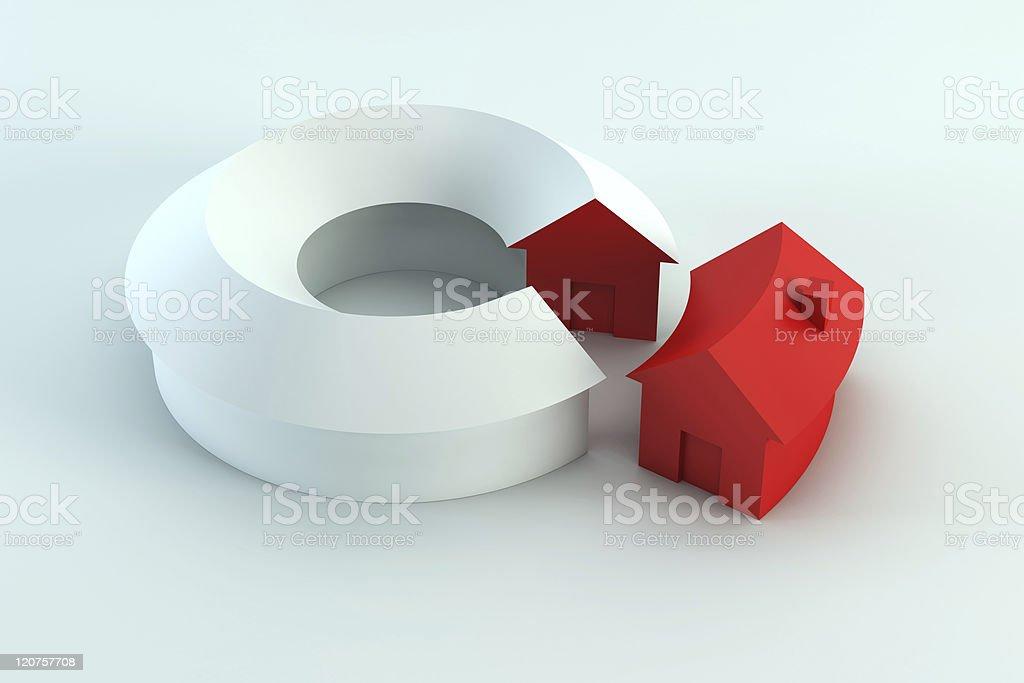 conceptual house diagram 3d render royalty-free stock photo