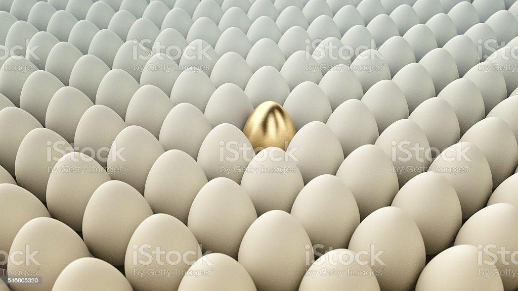 Conceptual Illustration. Golden egg among regular eggs. 3D Render stock photo