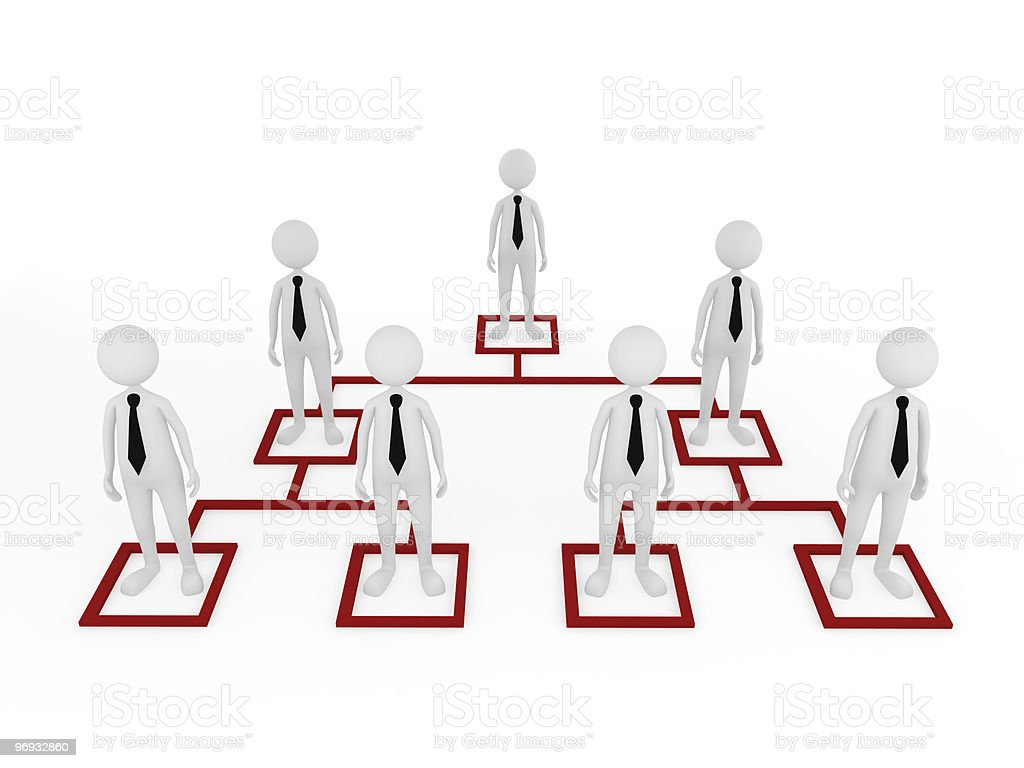 A conceptual illustration of an organizational chart stock photo