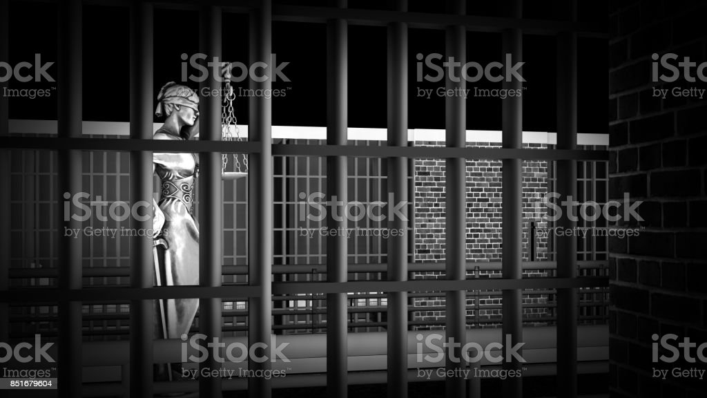 Conceptual illustration on existence in prison 3d rendering stock photo