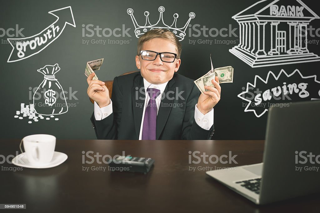 Conceptual image King of Banks. Successful banker holding money stock photo