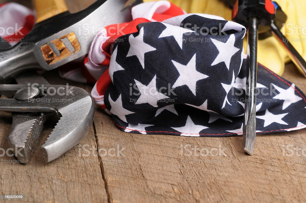 Conceptual image of American made crafts with tools and flag stock photo