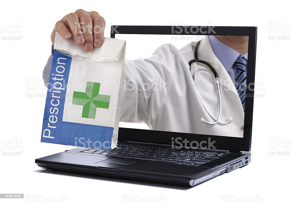 Conceptual image of Internet pharmacy filling prescription stock photo