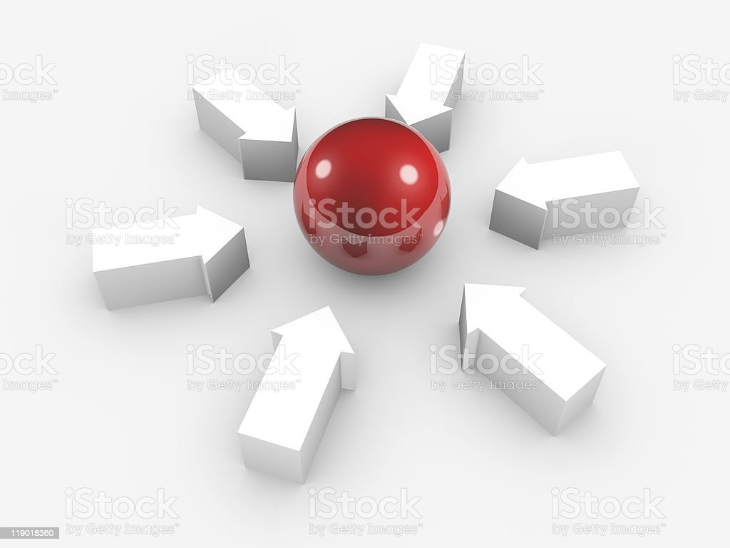 Conceptual image of sphere and arrows. Isolated. stock photo