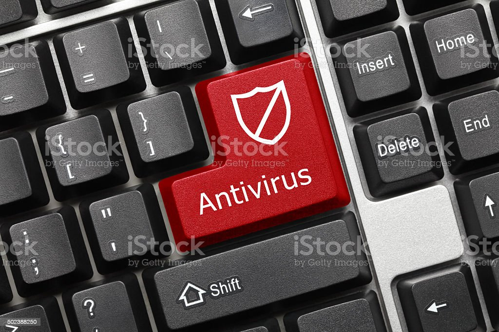 Conceptual keyboard - Antivirus (red key with shield symbol) stock photo