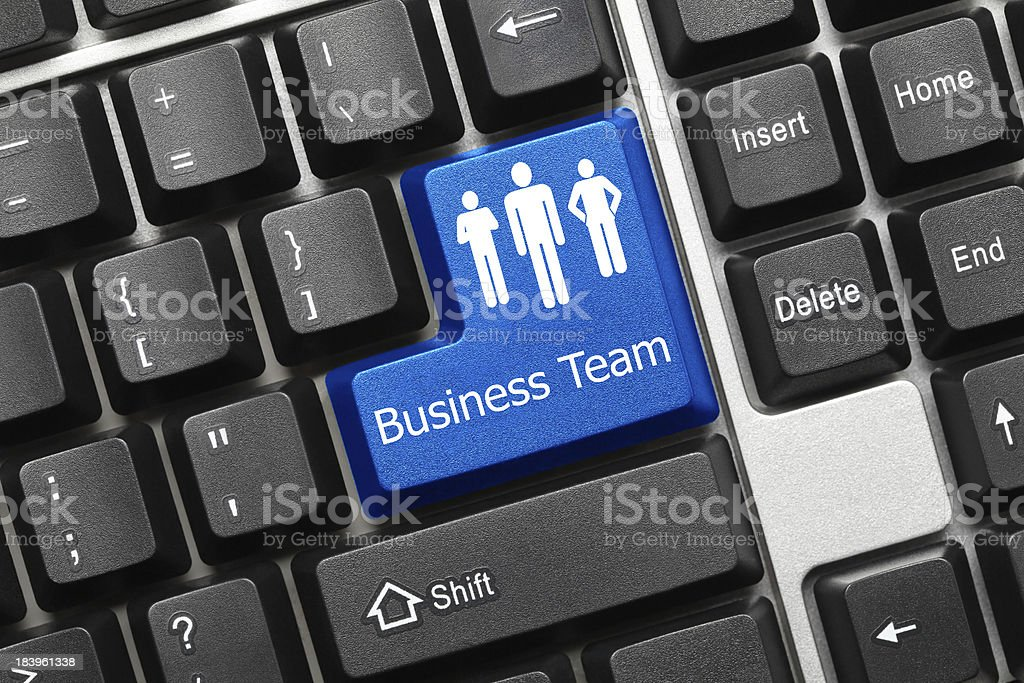Conceptual keyboard - Business Team (blue key) royalty-free stock photo