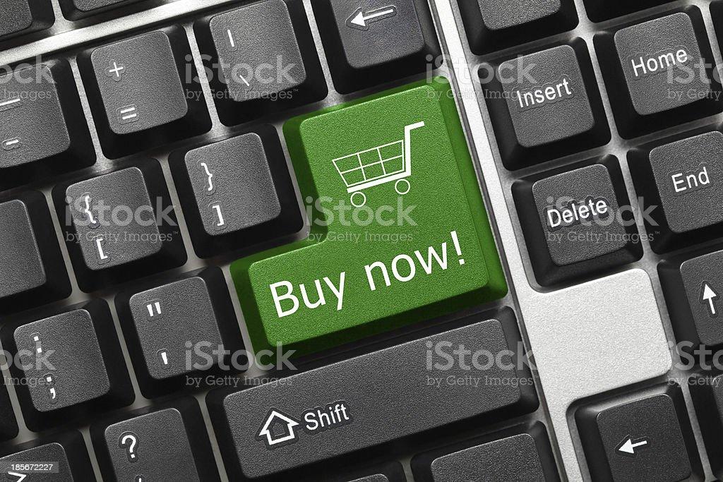 Conceptual keyboard - Buy now (green key) royalty-free stock photo
