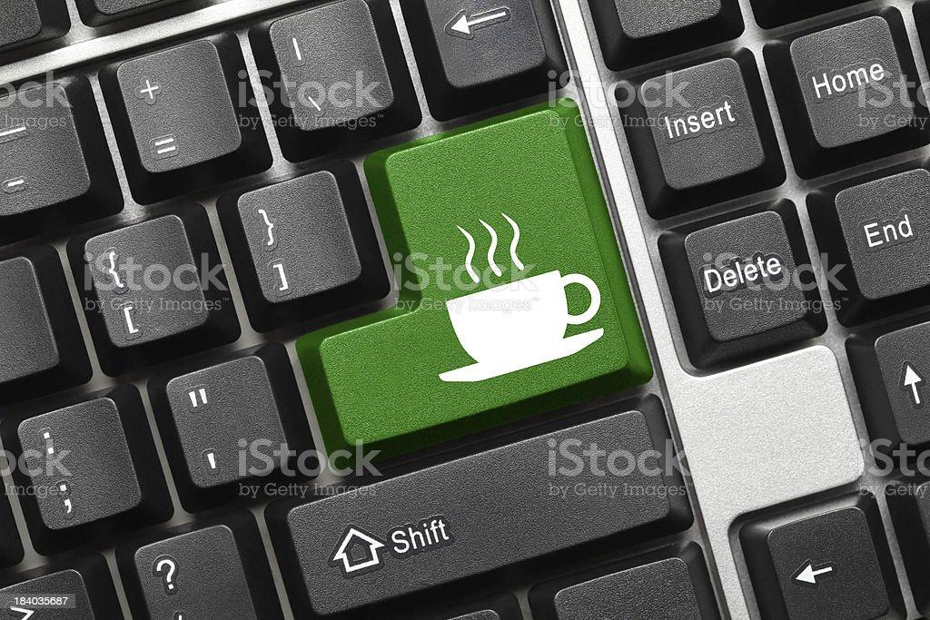 Conceptual keyboard - Coffee cup (green key) royalty-free stock photo