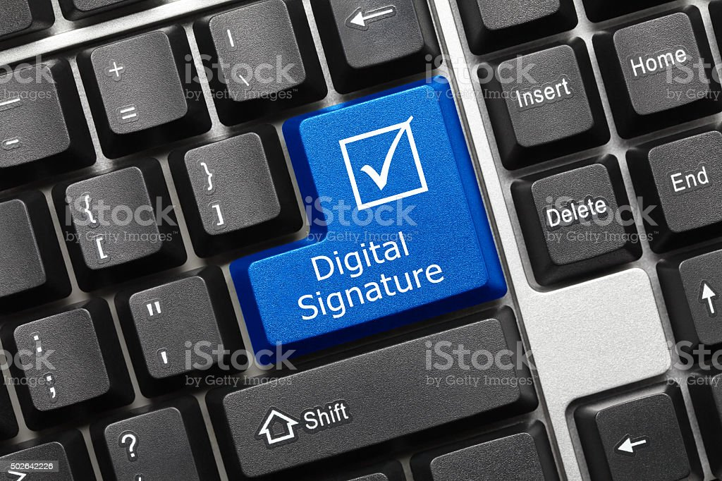 Conceptual keyboard - Digital Signature (blue key) stock photo