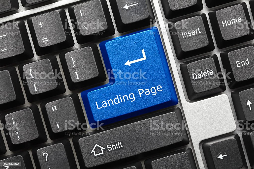 Conceptual keyboard - Landing Page (blue key) stock photo