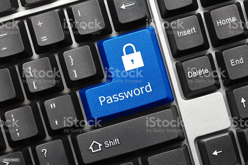 Conceptual keyboard - Password (blue key) stock photo