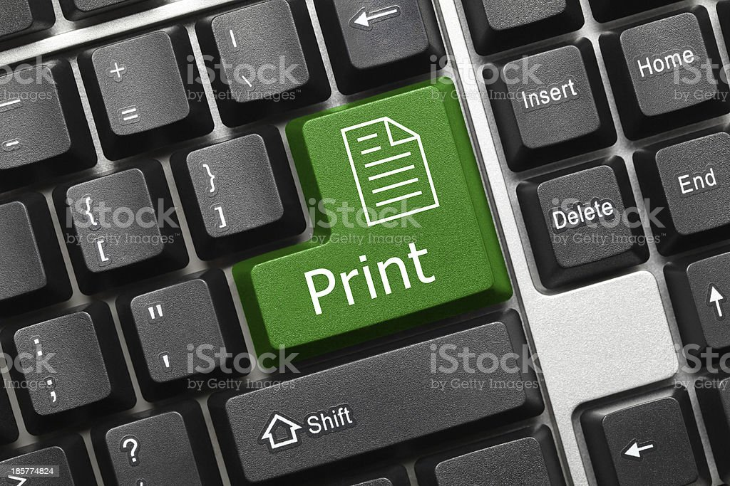Conceptual keyboard - Print (green key) royalty-free stock photo