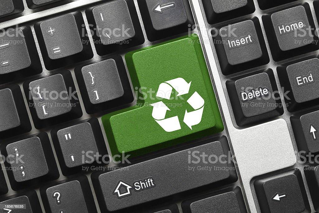 Conceptual keyboard - Recycling symbol (green key) royalty-free stock photo