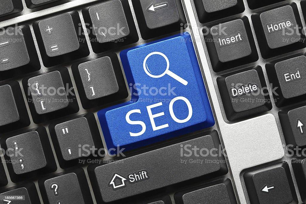 Conceptual keyboard - SEO (blue key) royalty-free stock photo