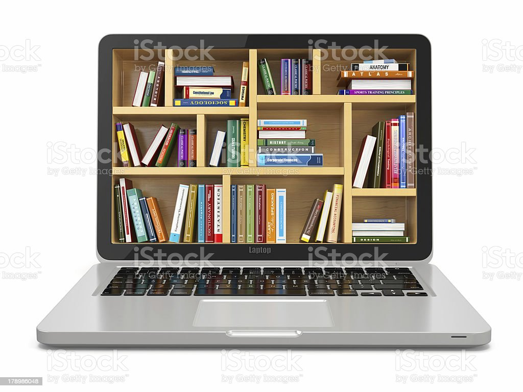 Conceptual laptop with library on screen stock photo