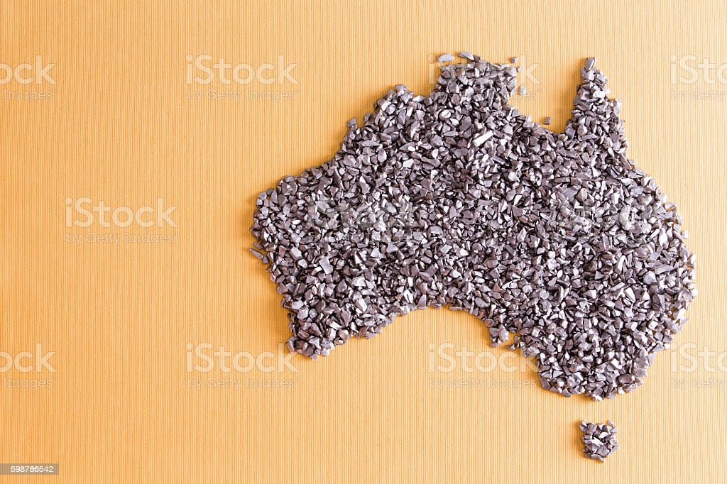 Conceptual map of Australia formed of small stones stock photo