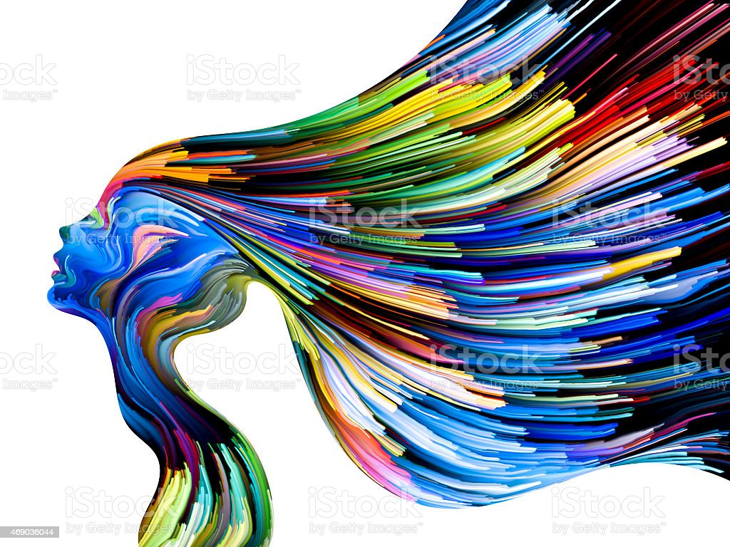 Conceptual Mind Painting of a woman in rainbow colors stock photo