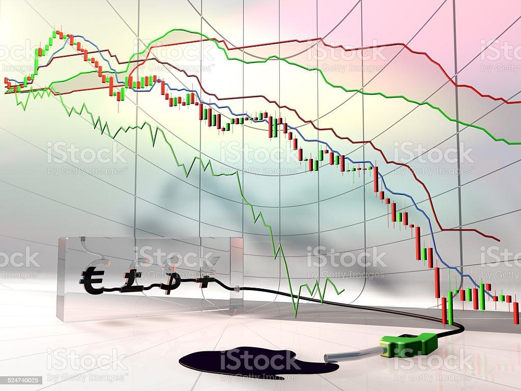 Conceptual oil chart dropdown. stock photo