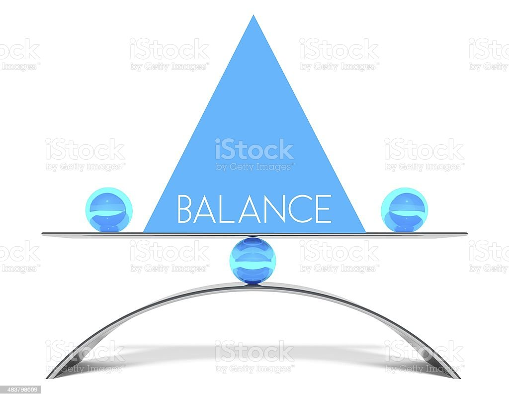 Conceptual perfect balance between two issues stock photo