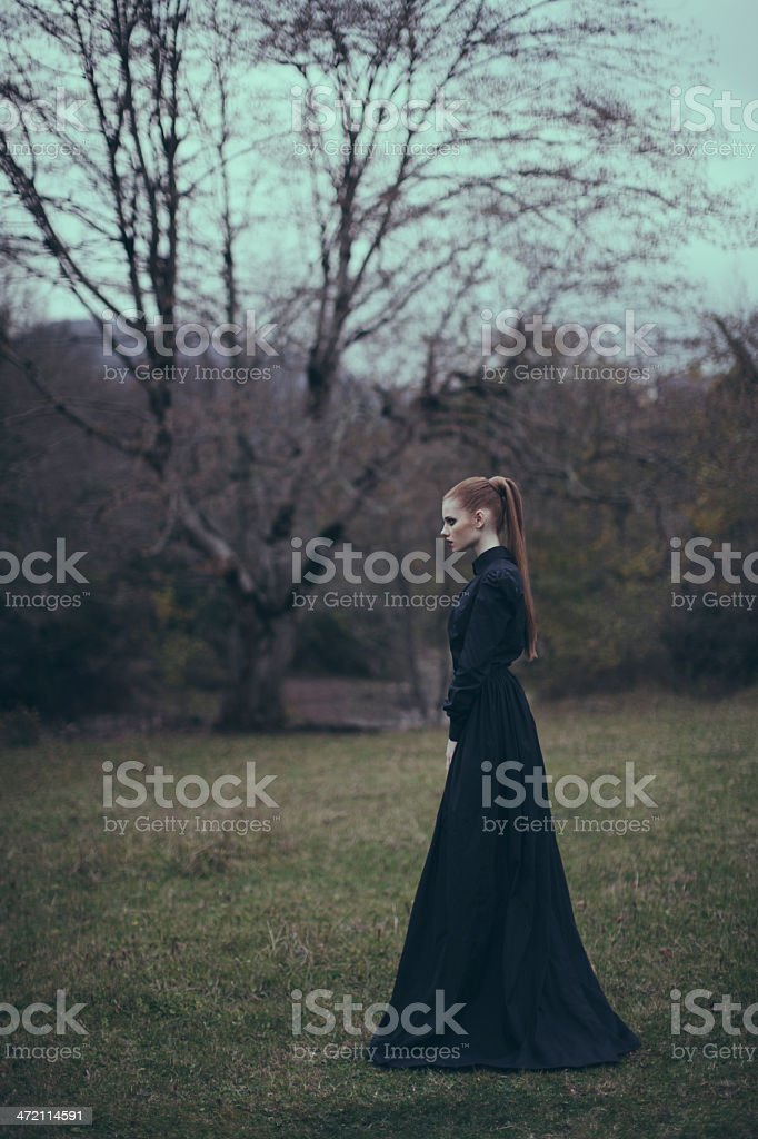 Conceptual portrait of a woman at the forest stock photo