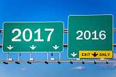 Conceptual road sign about new year 2017