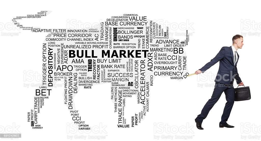 Conceptual trend word cloud as silhouette of big bull stock photo