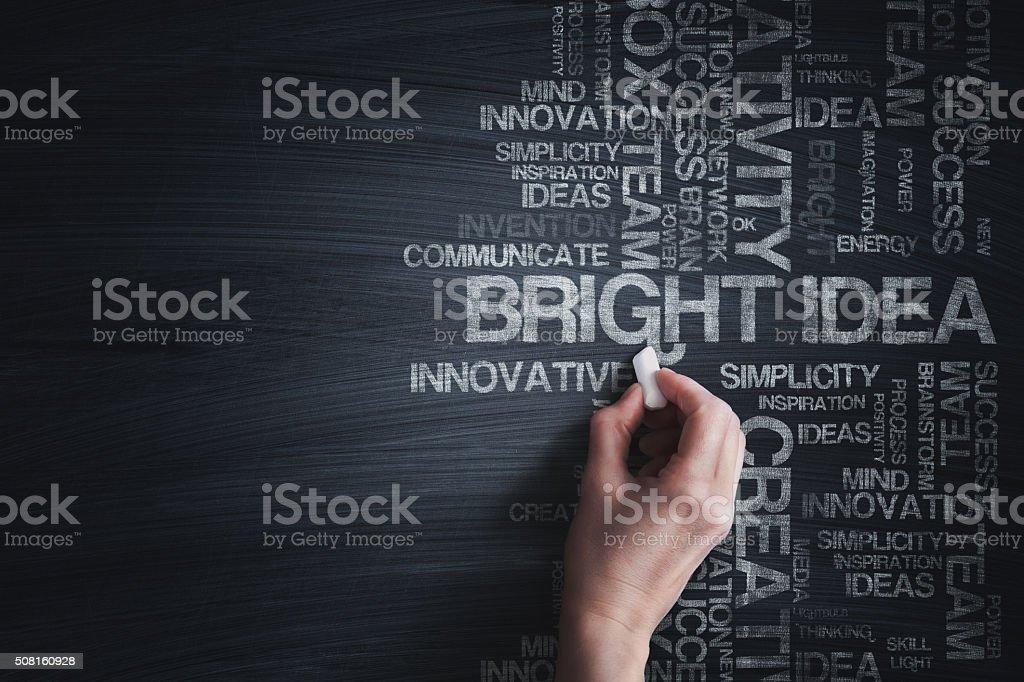 Conceptual Word cloud on blackboard stock photo