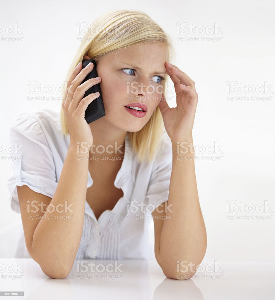 Concern etched on her face... stock photo