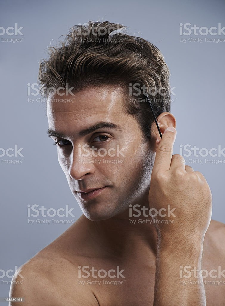 Concerned about his hair royalty-free stock photo