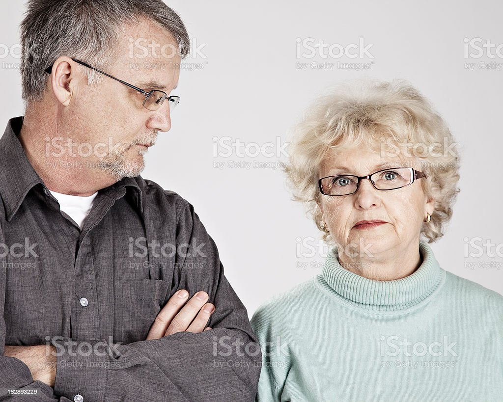 Concerned couple of seniors royalty-free stock photo