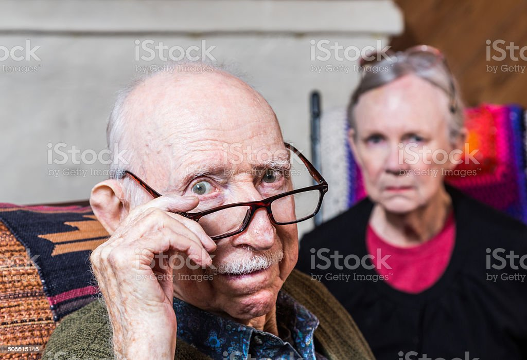 Concerned Elderly Couple stock photo