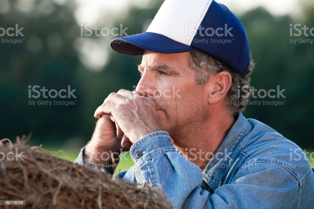 Concerned Farmer royalty-free stock photo
