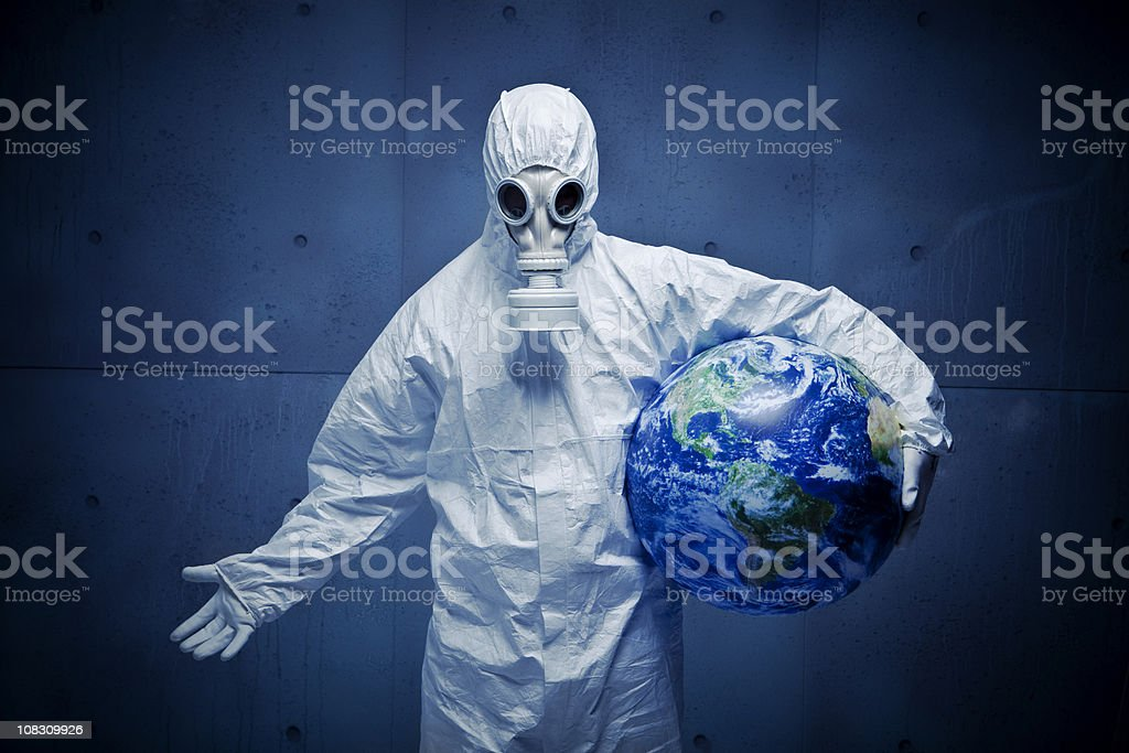 Concerned for the planet. Nuclear disaster royalty-free stock photo