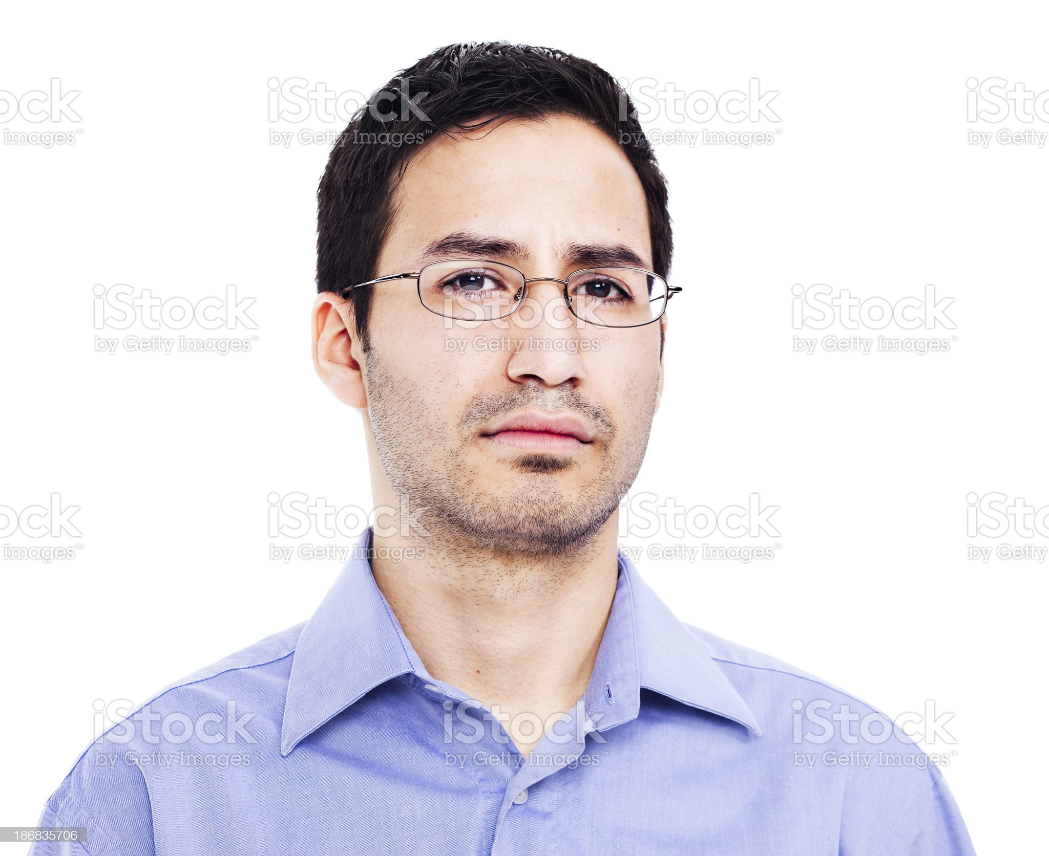 Concerned Hispanic office worker royalty-free stock photo