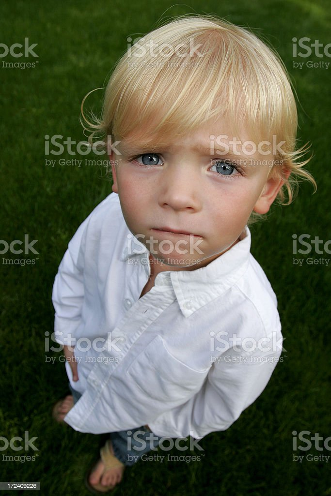 concerned looking boy royalty-free stock photo