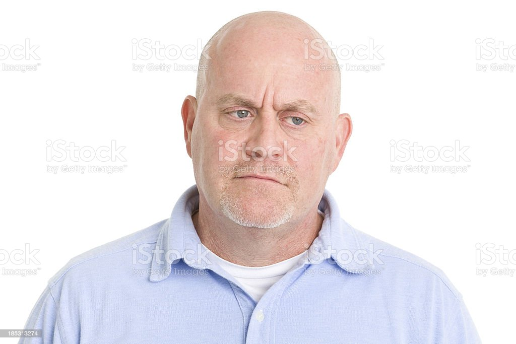 Concerned Man Looks Away stock photo