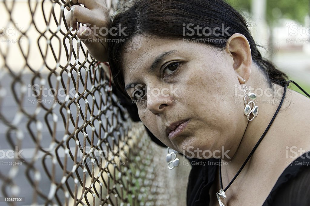 Concerned mature woman royalty-free stock photo