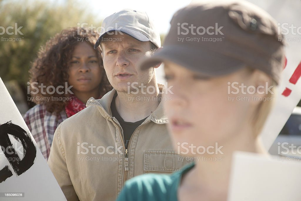 Concerned Protesters royalty-free stock photo