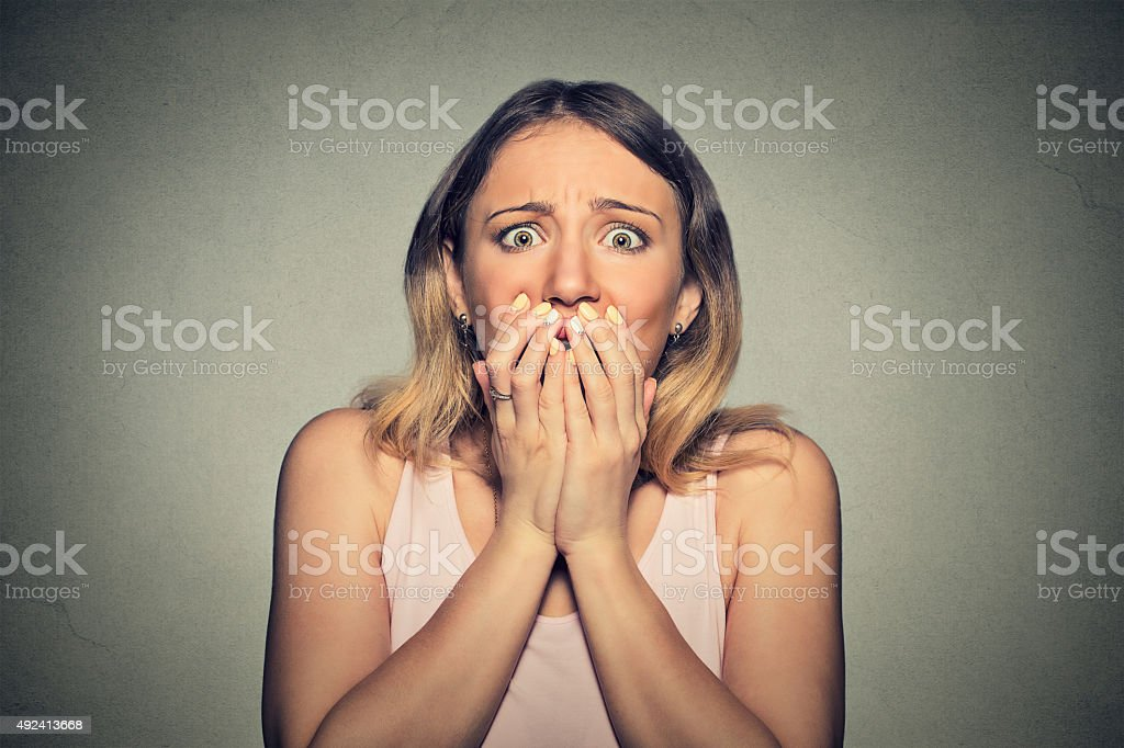 Concerned scared woman stock photo
