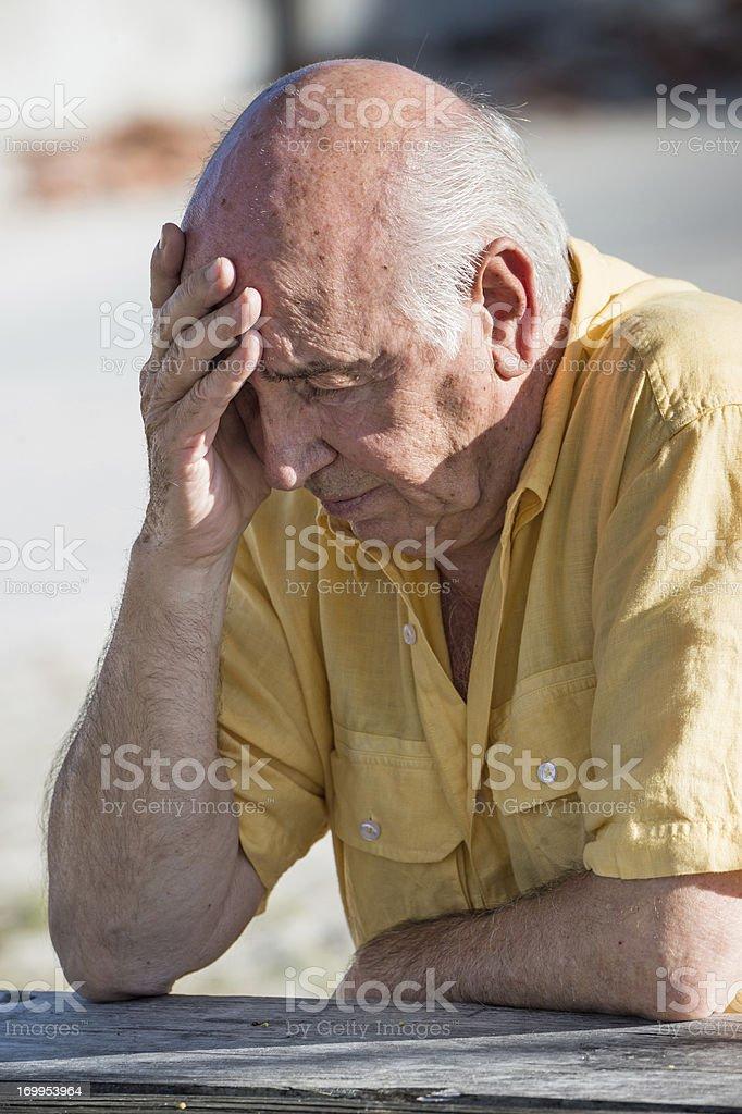 Concerned senior Caucasian man. royalty-free stock photo