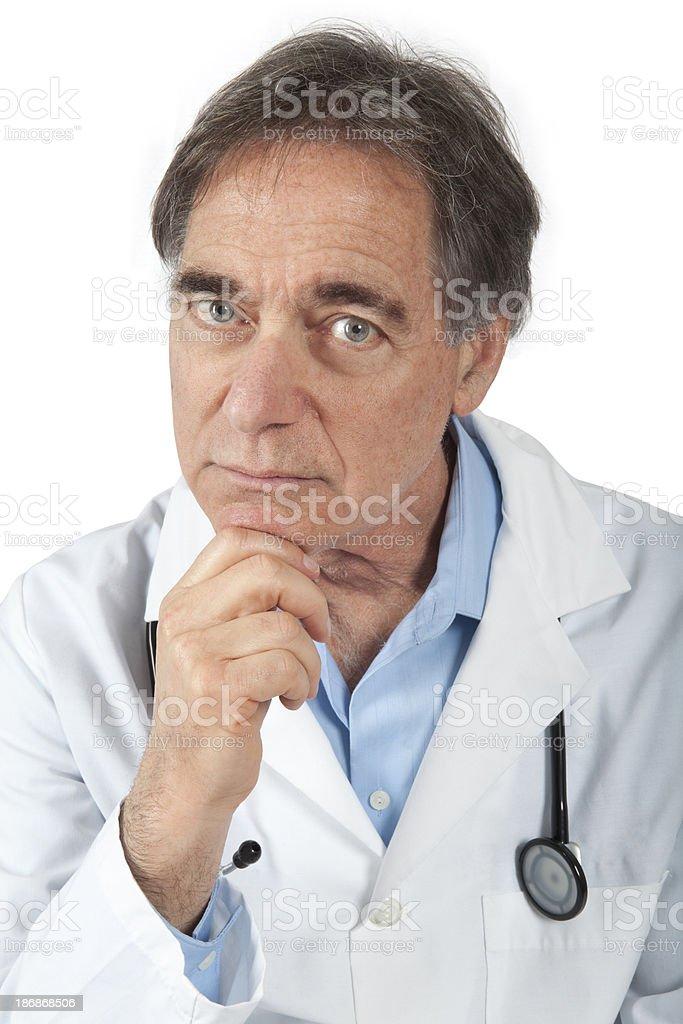 concerned Senior Doctor stock photo