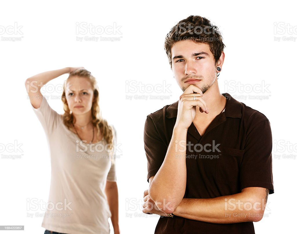 Concerned young couple look confused and worried stock photo