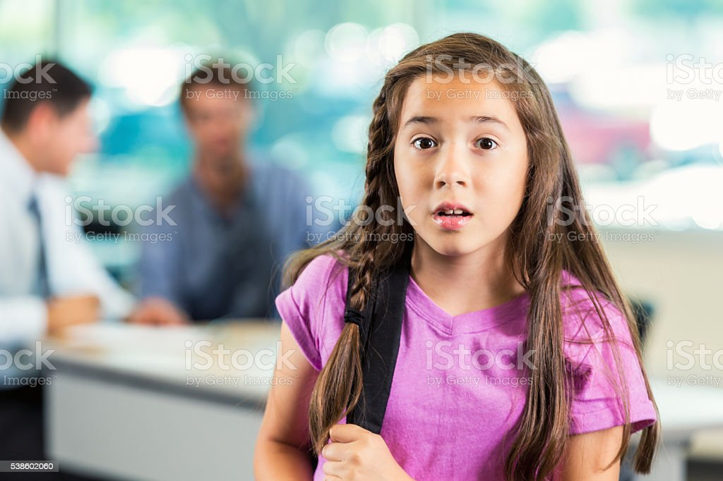 Concerned young girl stock photo
