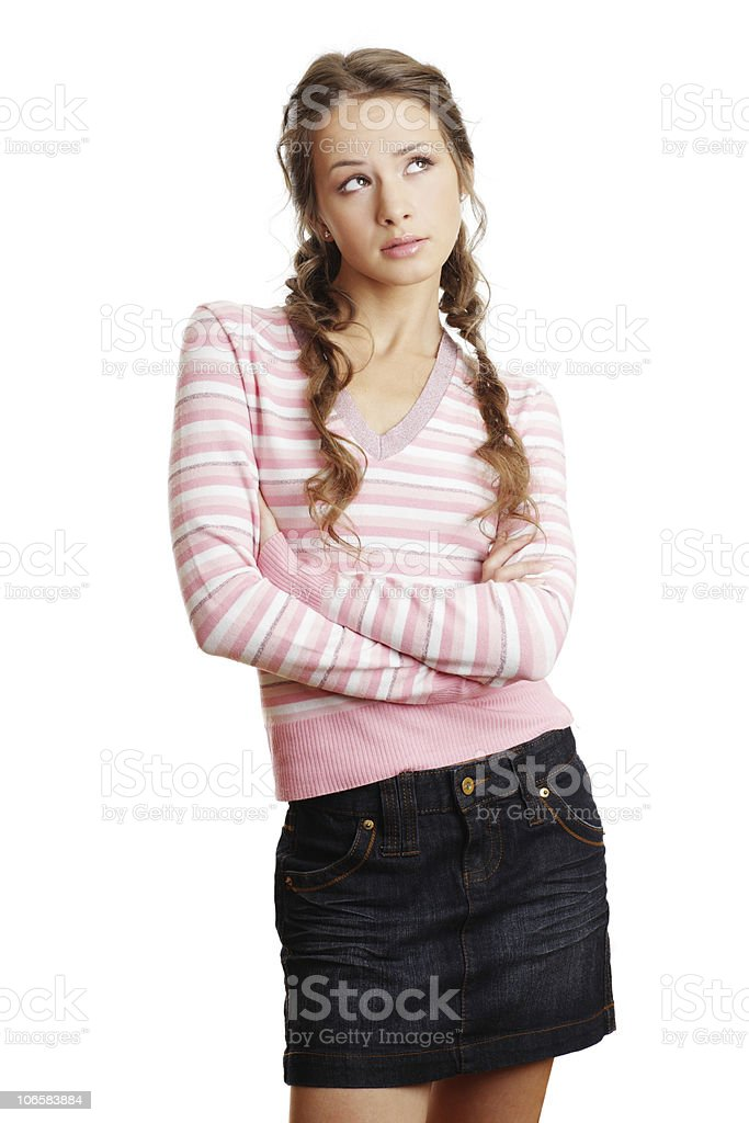 Concerned Young Woman royalty-free stock photo